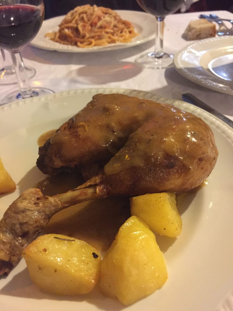 Chicken, gravy and potatoes in Rome