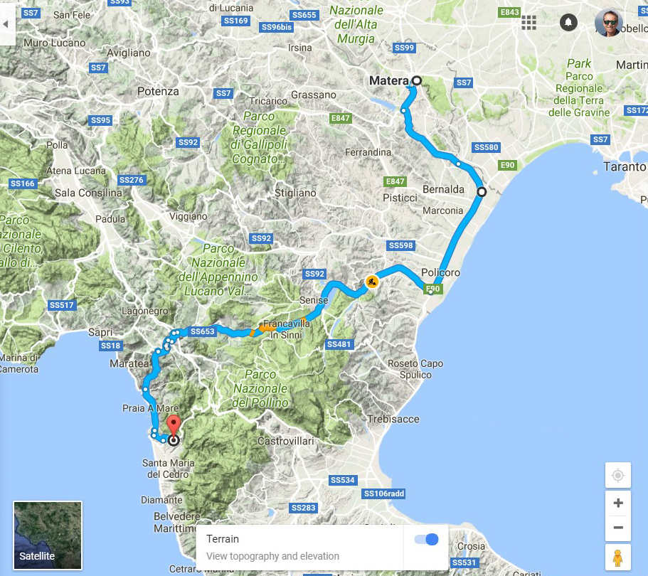 Route from Matera to Santa Domenica Talao