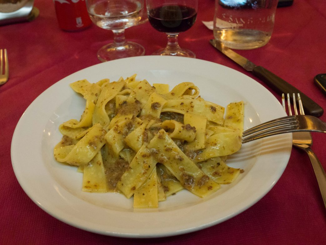 Pasta with Wild Boar at Al Caminetto in Tortora, Italy