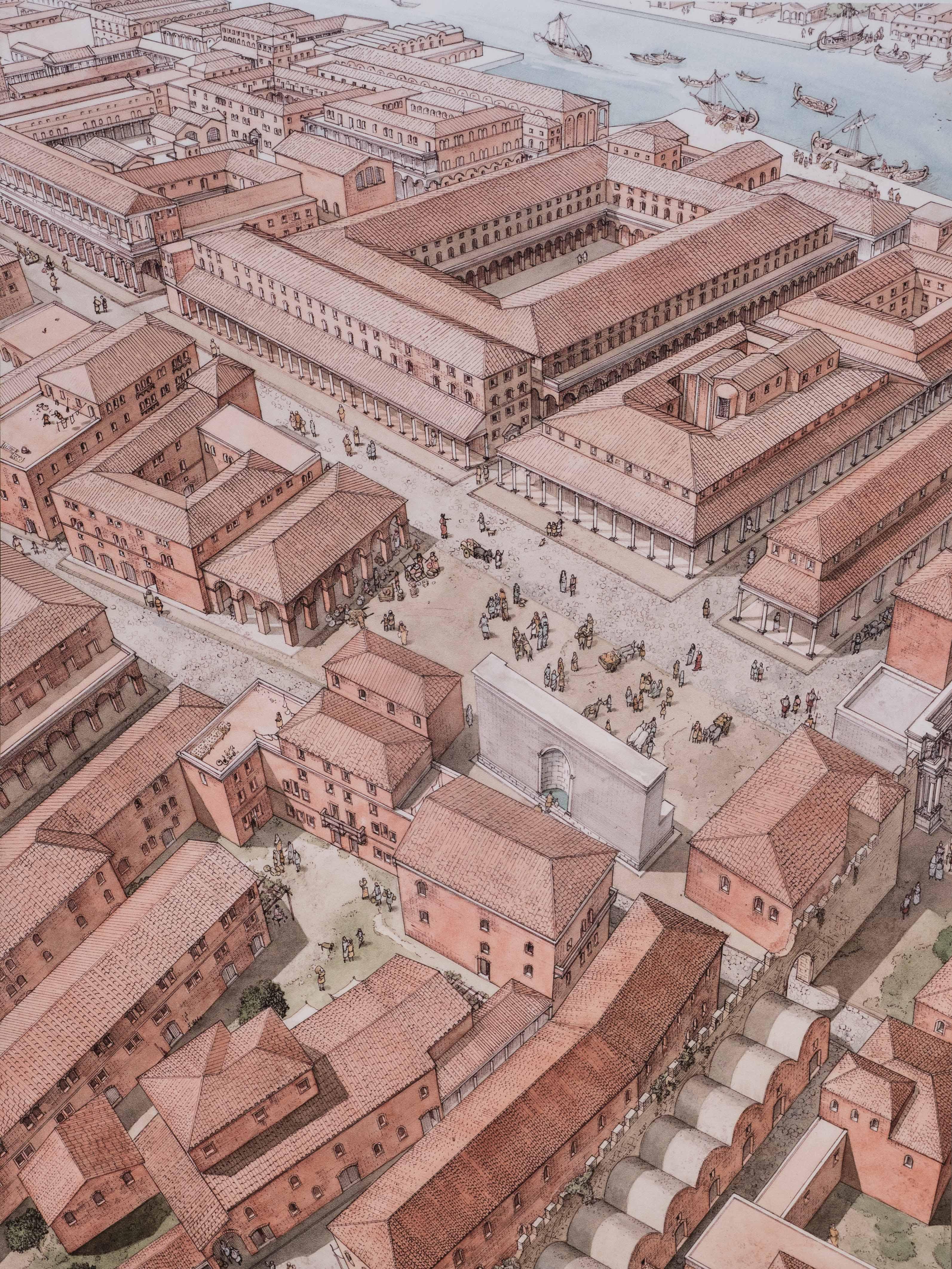 Artist's Depiction of Ostia Antica